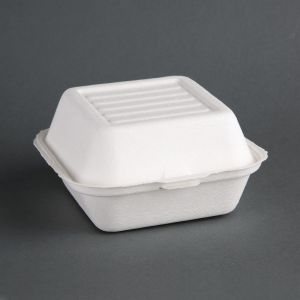 Fiesta Green Compostable Bagasse Burger Boxes 153mm