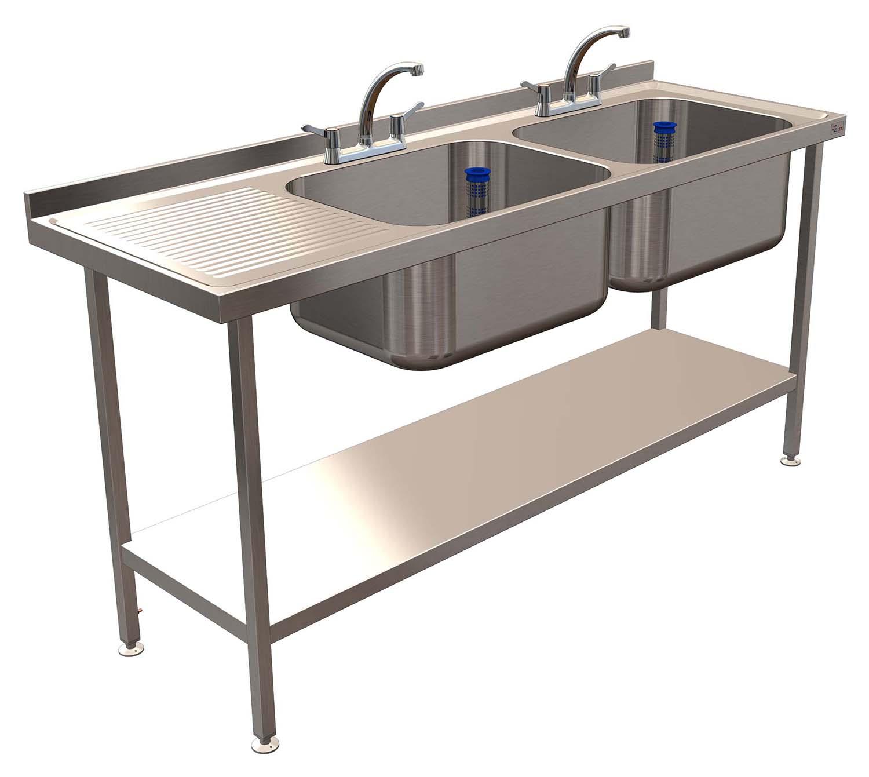 Ced Double Bowl Sink 1 Shelf 1800 X 600mm Lh Drain